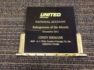 United Van Lines Plaque - Cindy Sirmans