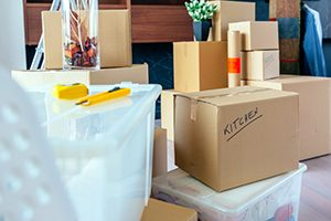 Moving Boxes in Residential Home