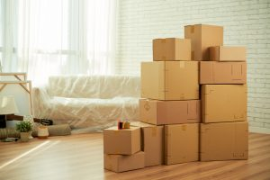 Boxes in House in Douglasville Ready for Movers