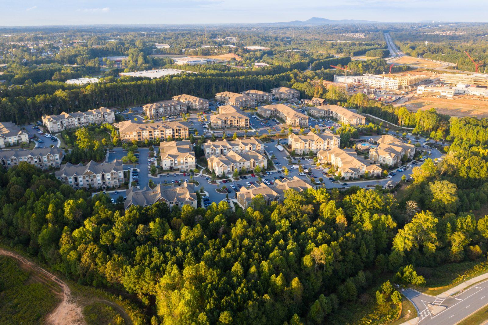Aerial view of suburban communities in downtown alpharetta georgia
